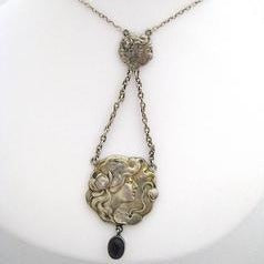 Art Nouveau Silver with Amethyst Drop Neckpiece