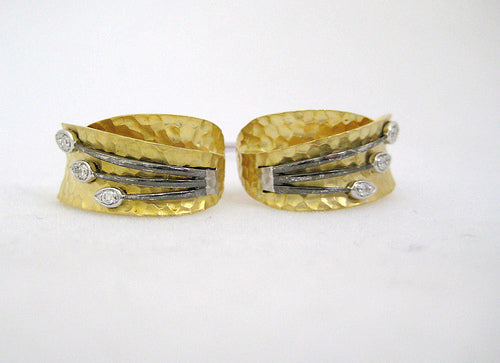 Hammered Gold and Diamond Earrings