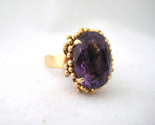 Free Form Oval Amethyst Ring