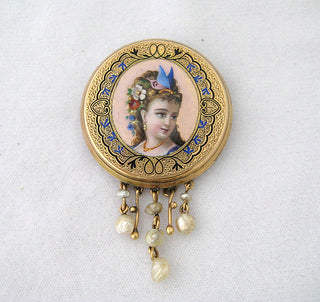 Antique Enamel Pin with Portrait of Woman