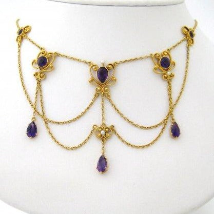 Art Nouveau Amethyst Festoon with Natural Pearls and Pear Shaped Amethyst