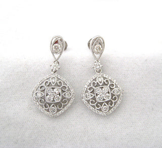 Finely Detailed Diamond Drop Earrings