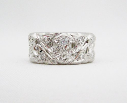 Vintage Wide Diamond and Platinum Eternity Band