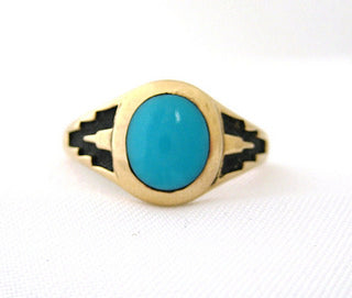 Turquoise with Black Enamel Detail Men's Ring
