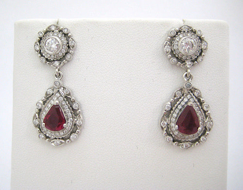 Doris Panos Tear Drop Ruby and Diamond Encrusted Drop Earrings