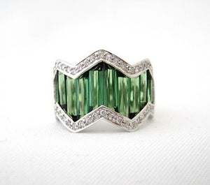Bellarri Green Tourmaline Zig-Zag Ring