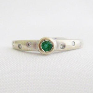 Bezel Set Emerald and Diamonds Band
