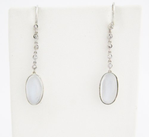Blue Flash Oval Moonstone Suspended from Rose Cut Diamonds Earrings