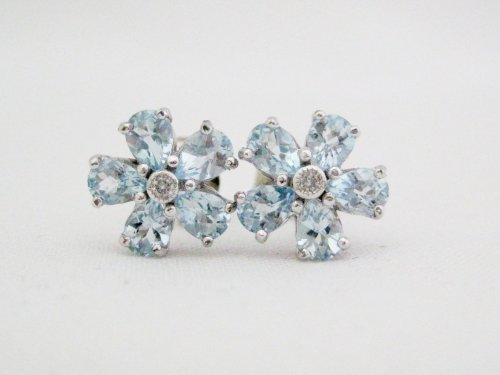 Blue Topaz and Diamond Cluster Flower Earrings