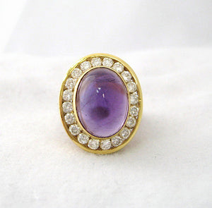 Cabochon Amethyst Ring with 20 Surrounding Diamonds