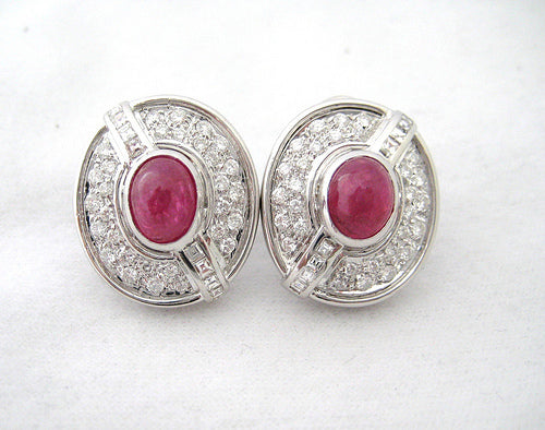 Cabochon Ruby and Diamond Earrings