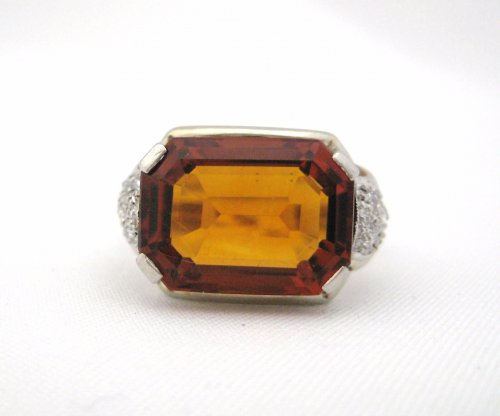 Bold Citrine with Smaller Side Diamond Detail Ring