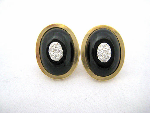 Onyx Earrings with Pave Diamond Centers