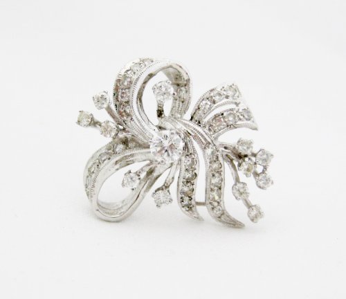 Bow and Floral Motif Diamond Pin and Pendant