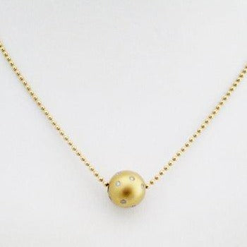 Gold Ball Pendant with Scattered Bezel Set Diamonds