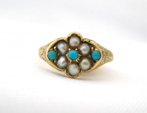 Birmingham Turquoise and Pearl Ring