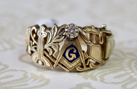 Men's Masonic Ring with Diamond accent