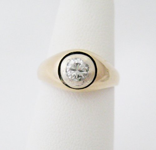 Silver Bezel Set Diamond Ring