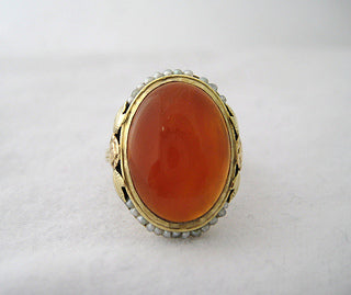 Carnelian Ring with Seed Pearl Frame