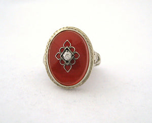 Carnelian with Center Diamond Ring with Filigree
