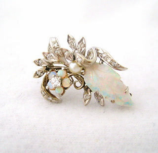 Carved Opal and Diamond Pin