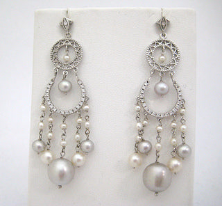 Cascading Diamond and Two Tone Pearl Earrings