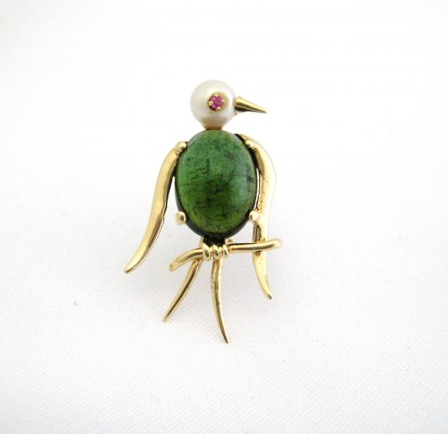 Cat's Eye Tourmaline Bird Pin with Pearl Head