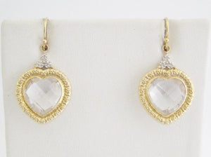 Clear Quartz Heart Drop Earrings