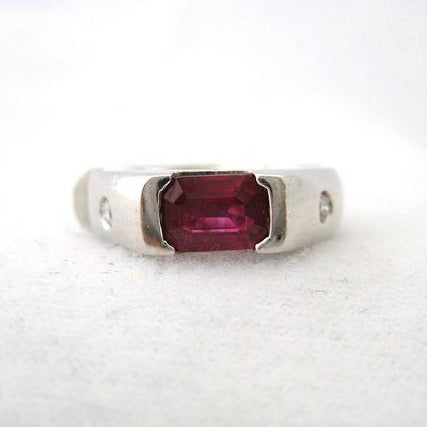 Emerald Cut Ruby Ring with Side Bezel Set