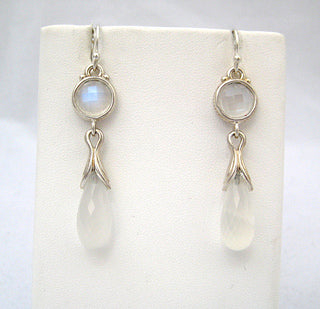 Faceted Moonstone Drop Earrings