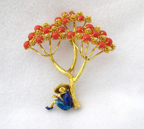 Coral and Enamel Pin with Man Playing Flute under Tree
