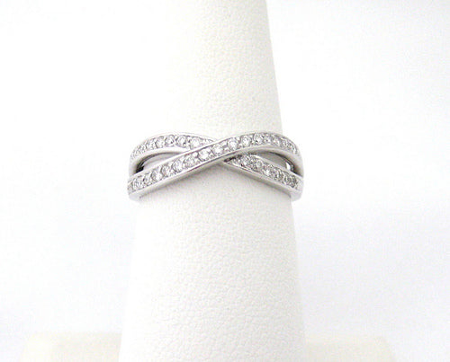 Cross Over Design Diamond and Platinum Band