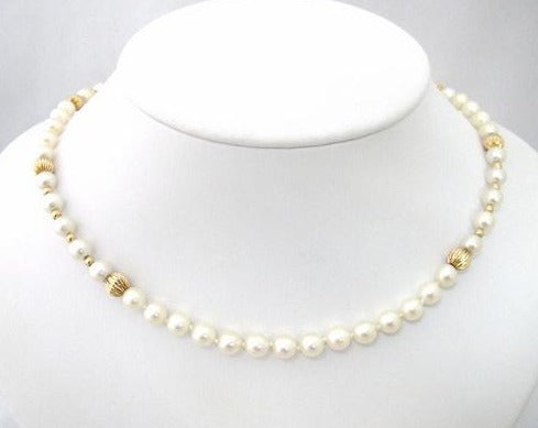 Cultured Pearl and Gold Bead Neckpiece