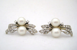 Cultured Pearl and Diamond Lever Back Earrings