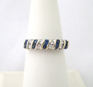 Diagonal Design Diamond and Sapphire Band
