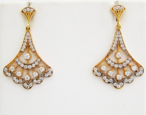 Diamond and Rose Gold Drop Earrings