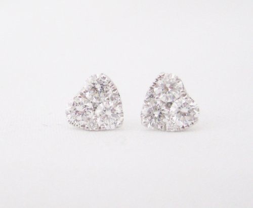 Diamond Cluster Heart Stud Style Earrings