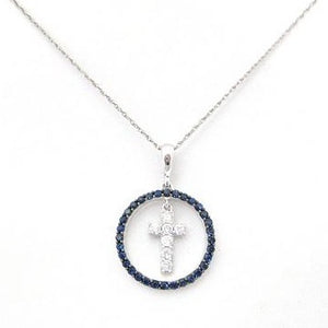 Diamond Cross Suspended in Sapphire Circle Pendant
