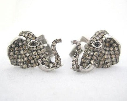 Diamond Encrusted Elephant Head Cufflinks
