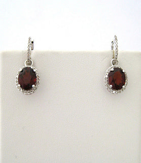 Hoop Earrings with Removable Garnet and Diamond Drops