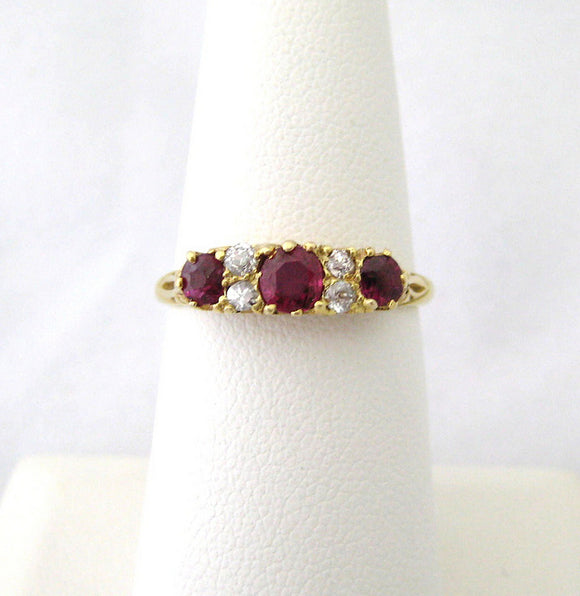 Lovely 3 Ruby and Diamond Ring
