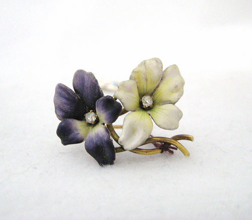 Antique Enamel with Diamond Center Pansies Pin