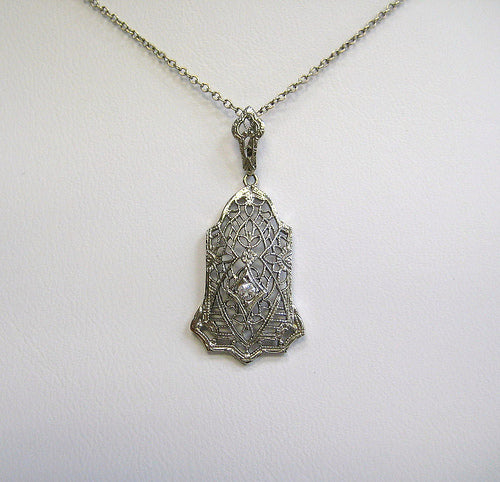 Diamond Vintage Filigree Necklace