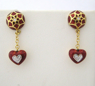 Enamel and Diamond Heart Motif Drop Earrings