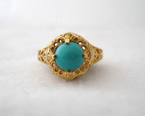Turquoise and Filigree Ring
