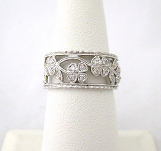 Wide Diamond Band with Floral Open Work Design