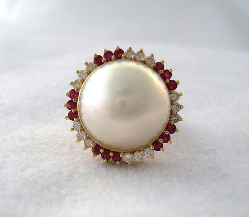 Mabe Pearl Surrounded by Diamonds and Rubies