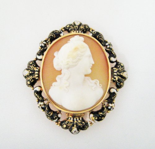 Cameo Pin with 14k Yellow Gold and Enamel Frame