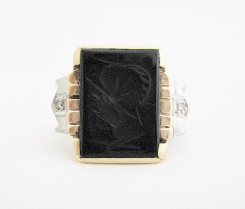 Mens Intaglio Ring with Diamonds