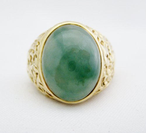 Mens Oval Jade Ring